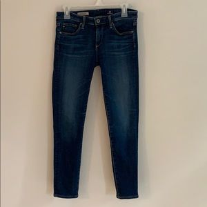 Adriano Goldschmied dark wash Stevie Ankle jeans.